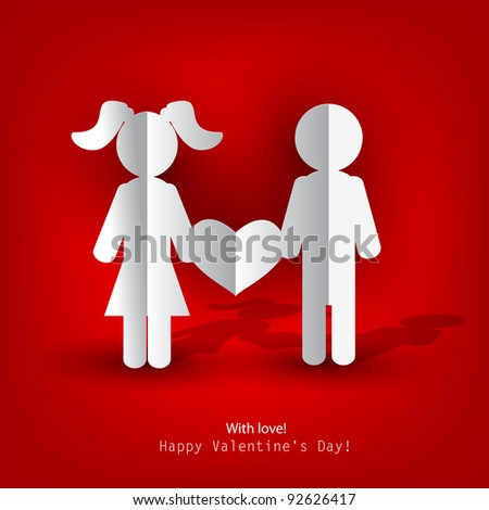 White  paper Men and Woman with heart on red background. Vector illustration - stock vector