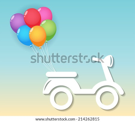 white paper motorcycle with six colorful balloons. vector.