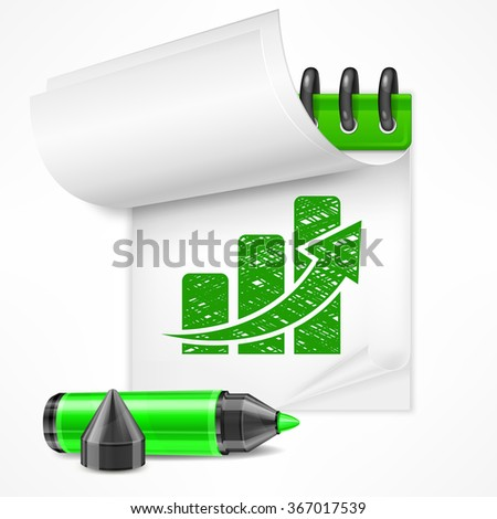 White paper notepad with chart and marker, vector illustration - stock vector