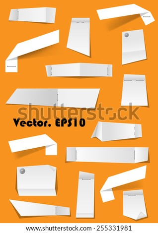 White paper notes and scraps attached with pins and stapler on background for memo, remind or remember concept. EPS10 format - stock vector