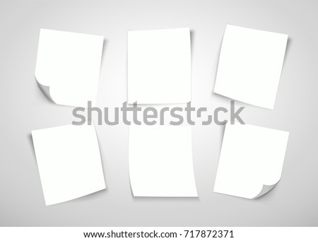 White paper notes. Post it note. Vector illustration