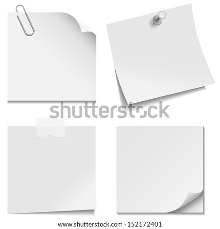 White Paper Notes - Set of white paper notes with paper clip, clear tape, and tack isolated on white background.  Vector illustration, Eps10. - stock vector