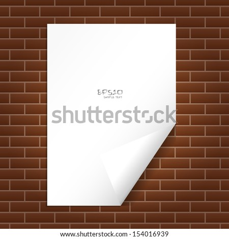 White paper on brick wall - Vector illustration - stock vector