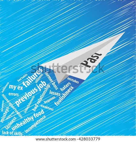 White Paper Plane from the Past Carrying Memories on Itself, Flying up into the Deep Blue Sky.