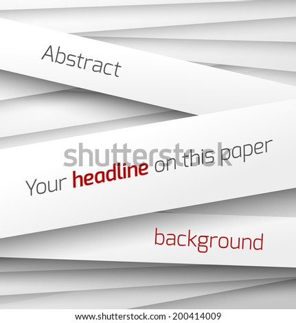 White paper rectangle banner on abstract 3d background with drop shadows. Vector illustration - stock vector