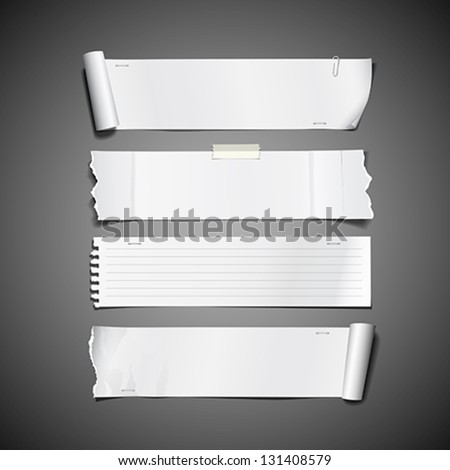 White paper roll ripped design long collections, vector illustration - stock vector