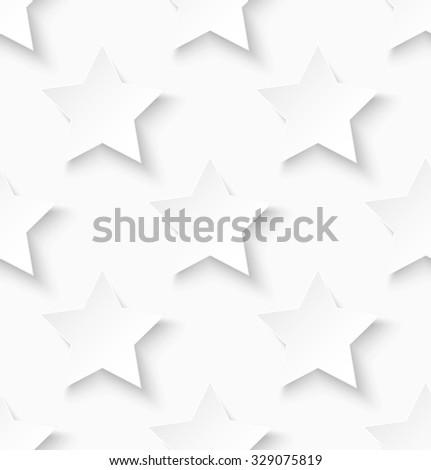 White paper seamless star pattern background. Vector illustration - stock vector