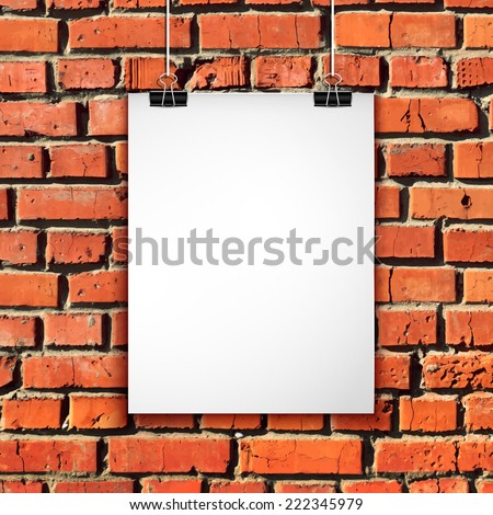 White paper sheet on brick wall. Vector background with blank poster on rope - stock vector