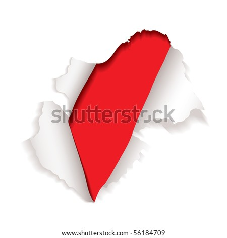 white paper sheet with hole punched in red background torn edges - stock vector