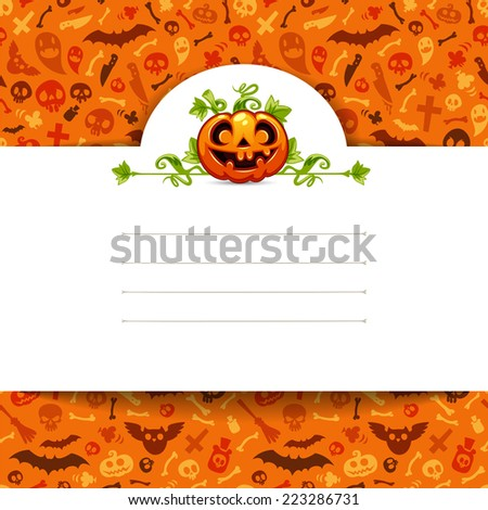 White Paper Sheet with Pumpkin on Halloween Background. Editable pattern in swatches. - stock vector