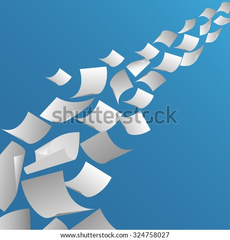 White Paper Sheets Flying Air Fly Stock Vector 324758027
