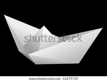White paper ship isolated on black - vector
