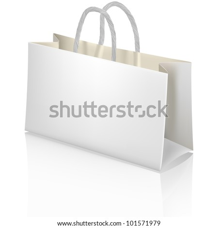 White paper shopping bag. Designer template. - stock vector
