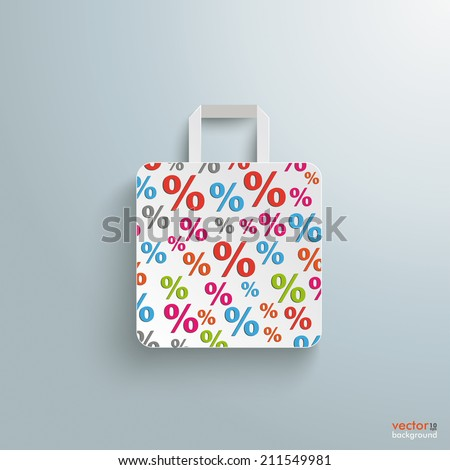 White paper shopping bag on the grey background. Eps 10 vector file. - stock vector