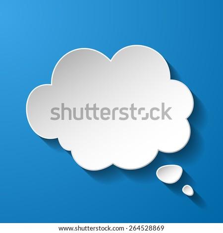 White paper speech bubble on blue background. Vector eps10 illustration - stock vector