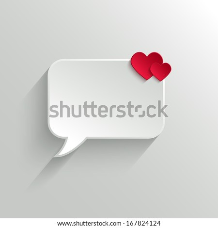 White Paper Speech Bubble With Red Hearts. Valentine's day Background