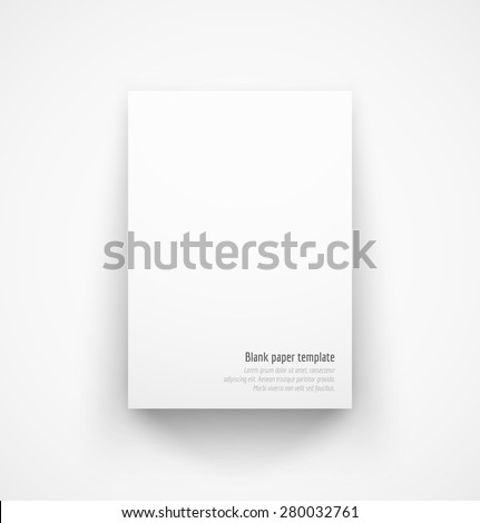 White paper template mock-up with drop shadow. Vector illustration - stock vector