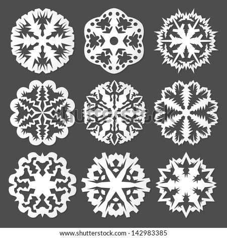 White Paper vector snowflakes - stock vector