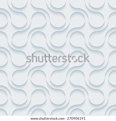 White paper with outline extrude effect. Abstract 3d seamless background. Halftone vector EPS10. See others in My Perforated Paper Sets.