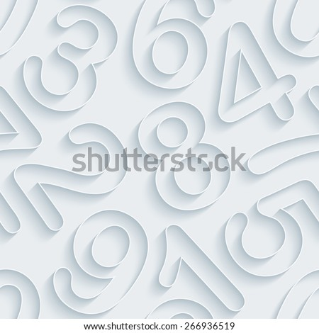White paper with outline extrude effect. Numeral 3d seamless background. Halftone vector EPS10. - stock vector