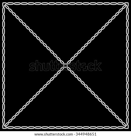 white pattern on a black background in Celtic and Arabic style weaving and knot. The pattern in the form of two interlaced frame ropes node.