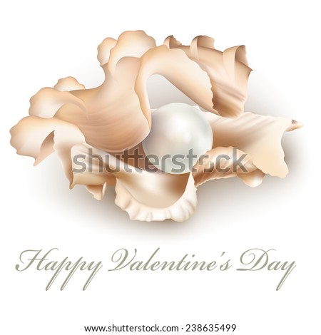 White pearl in an open shell, isolated on a white background. Valentine's Day gift. Vector illustration - stock vector