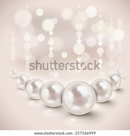 White pearls shiny background with light effects - stock vector