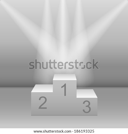 White pedestal floodlit. Realistic three-dimensional image - stock vector