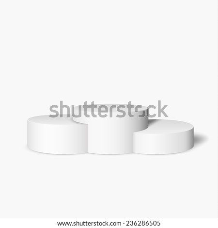 White pedestal on white background vector background. Vector eps10. - stock vector
