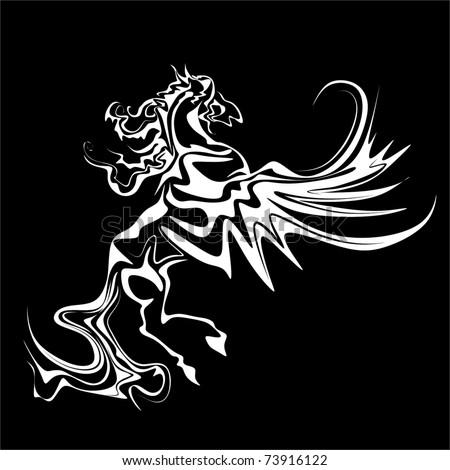 white Pegasus vector - stock vector