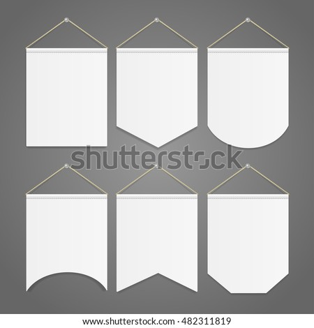 White Pennant Template Hanging on Wall Set. Vector illustration of random pennants flags