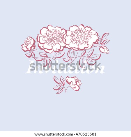 white peony floral sketch. spring flower vector illustration. black and white hand drawn element. pastel coral flowing motif