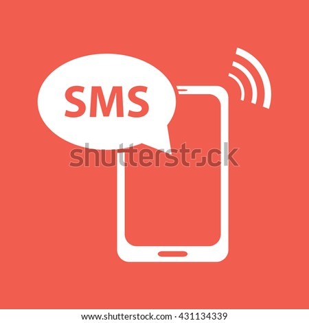 White phone SMS icon vector illustration - stock vector