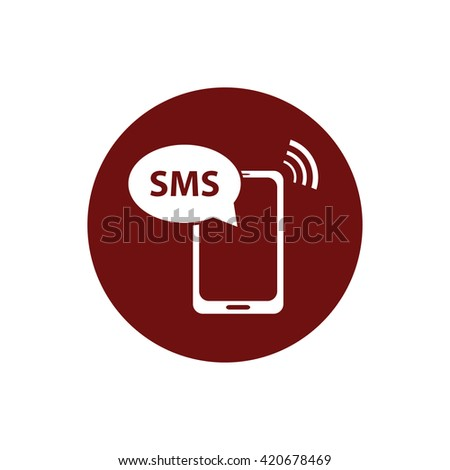 White phone SMS icon vector illustration. Red circle. Red button - stock vector