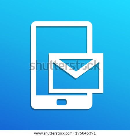 white phone with message icon on blue sky background(vector) - stock vector