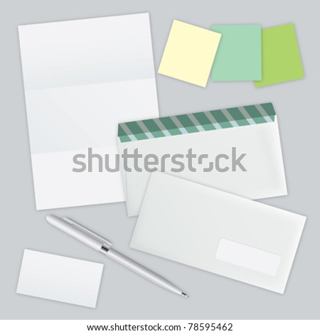 white piece of paper, two envelopes and colored leaflets for notes vector eps 10 - stock vector