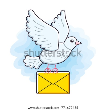 White pigeon bird flying with an envelope in sky. Dove mail illustration.