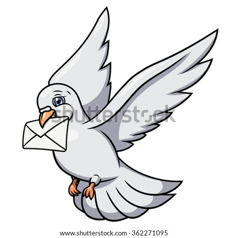 White pigeon is carrying letter 2 - stock vector