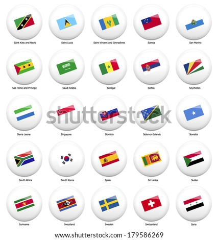 white pin badges with flag of all countries started name by letter S - stock vector