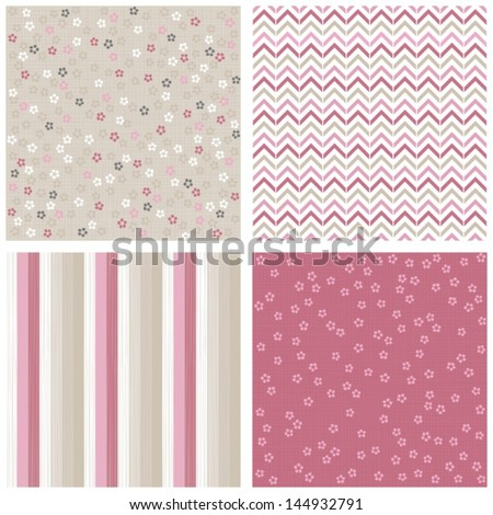 white pink gray blue little dotted flowers chevron stripes on light background romantic floral geometric seamless pattern set - stock vector