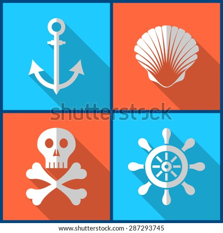 White pirate icons on colorful squares flat design - stock vector