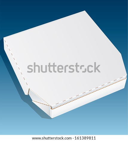 White pizza box, made of cardboard, isolated on a blue background. - stock vector