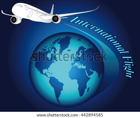 white plane over a blue globe with the inscription international flights on a blue background