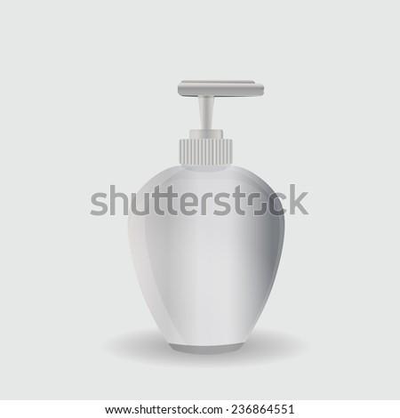 white plastic bottle for liquid soap - stock vector