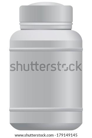 White plastic box for medicines. Vector illustration. - stock vector