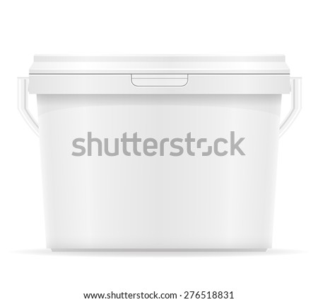 white plastic bucket for paint vector illustration isolated on background - stock vector