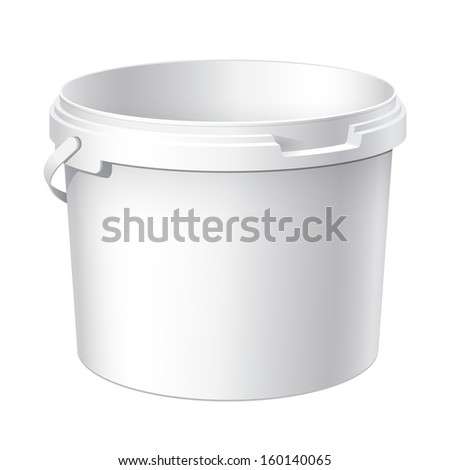 White plastic bucket. Product Packaging For food, foodstuff or paints, adhesives, sealants, primers, putty. Vector illustration - stock vector