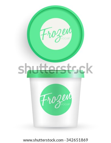 White Plastic Bucket With Green Lid : Ice cream or Yogurt Container : Vector Illustration
