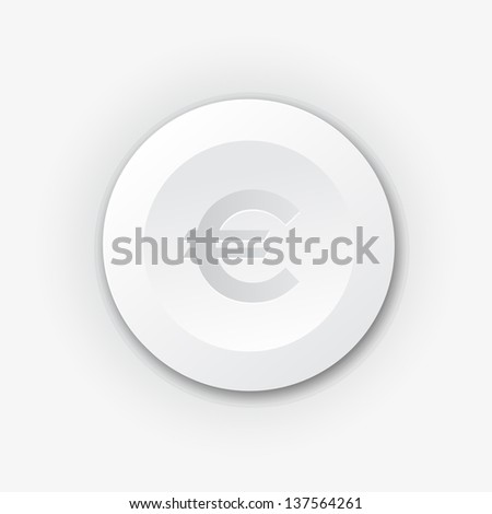 White plastic button with euro sign. Vector icon with shadow