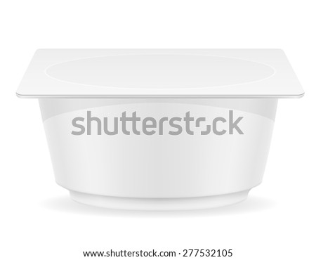 white plastic container of yogurt vector illustration isolated on background